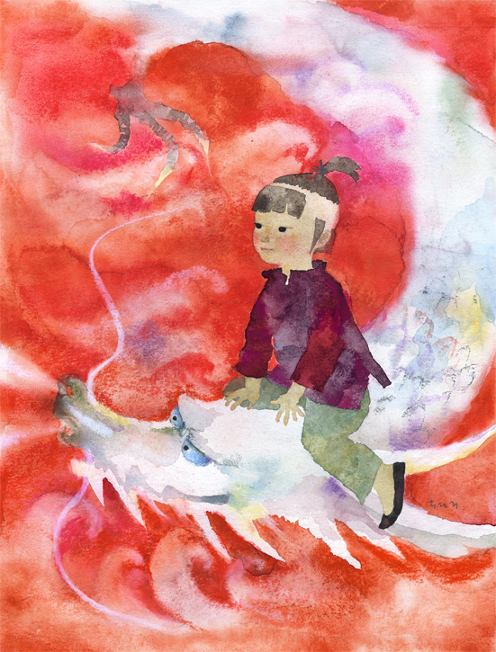 いわさきちひろ りゅうに乗る男の子 『りゅうのめのなみだ』(偕成社)より  1965年