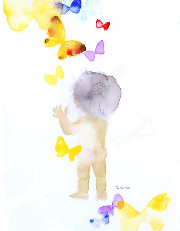 いわさきちひろ 蝶とあかちゃん 1971年