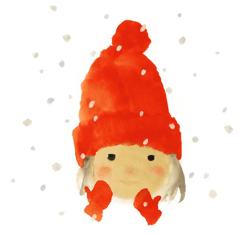 いわさきちひろ 赤い毛糸帽の女の子『ゆきのひのたんじょうび』(至光社)より1972年