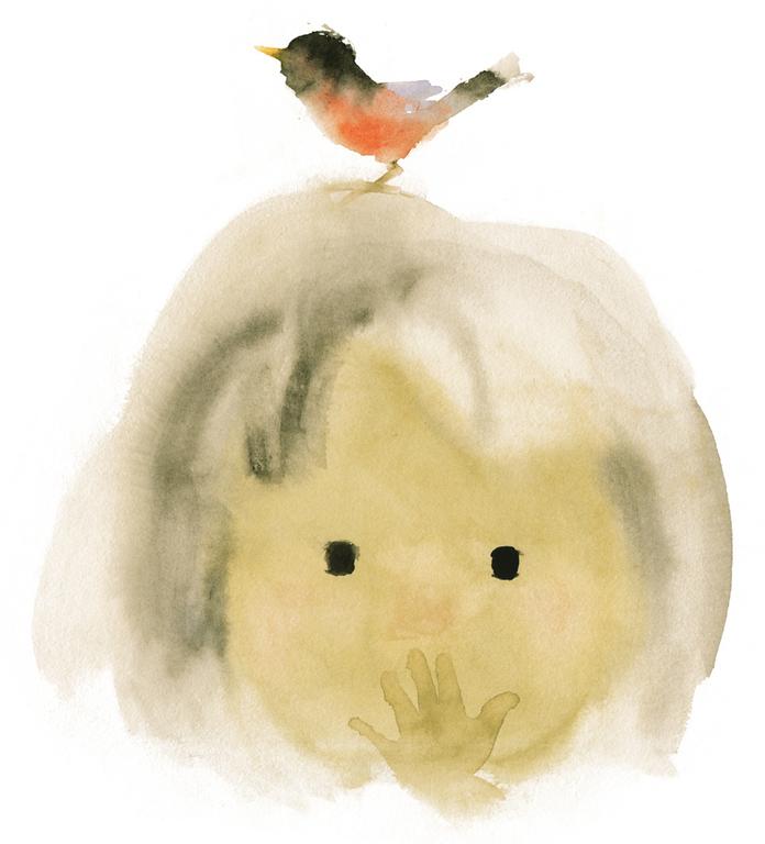 いわさきちひろ 小鳥と少女『ことりのくるひ』(至光社)より 1971年