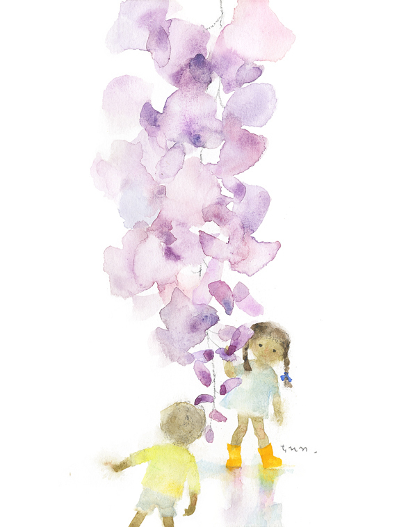 いわさきちひろ 藤の花と子ども 1970年