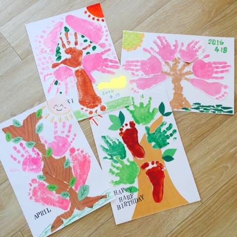 毎月変わる可愛い手形・足型アートです!! 「桜」または、「LOVE」のお好きなものをお選びください!