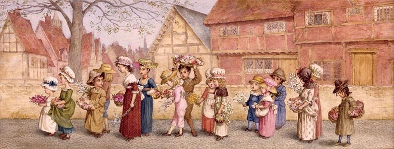 ケイト・グリーナウェイ (イギリス) 花束を運ぶ子どもたち 1876年頃